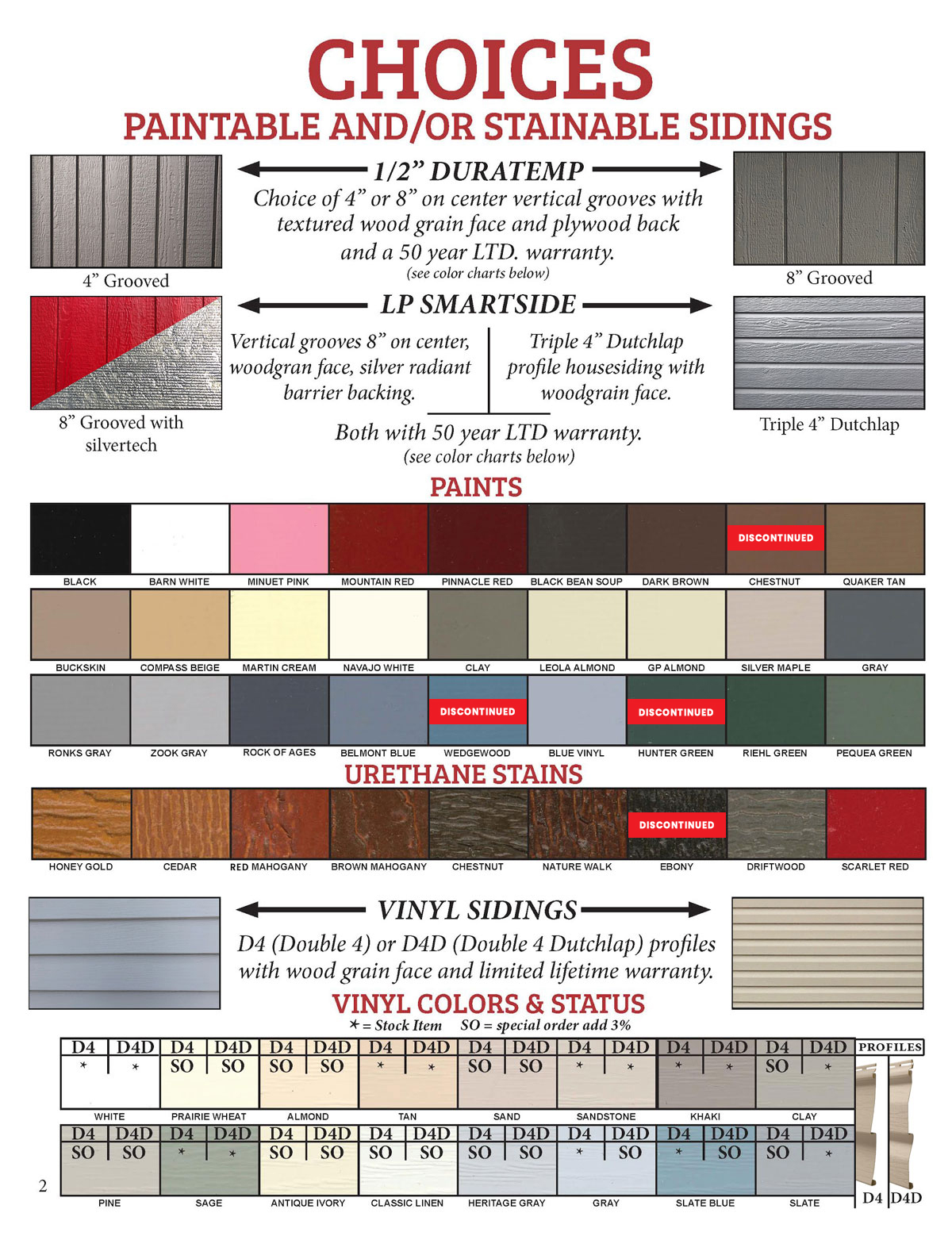 Diagram showing paintable and/or stainable siding options for sheds